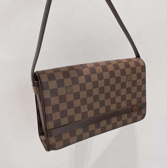 LV棕色棋盘格方盒子包